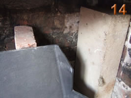 Brick up behind the fire back