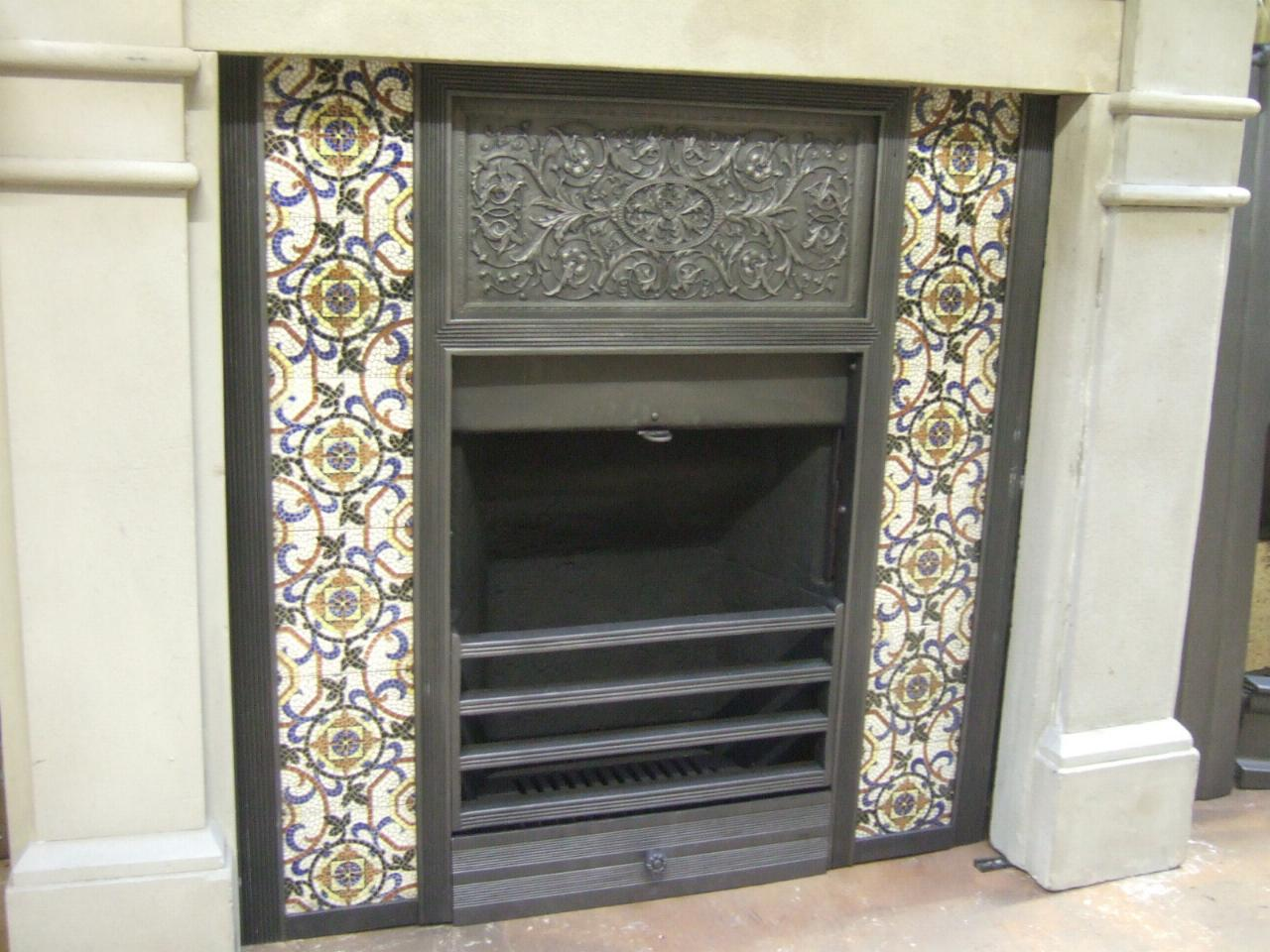 Original arts and crafts tiled insert 001ti old fireplaces for Arts and crafts tile fireplace