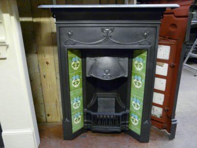 Art Nouveau Tiled Bedroom Fireplace
