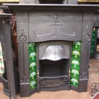 016TC - Original Antique Art Nouveau Tiled Combination Fireplace - Folkestone