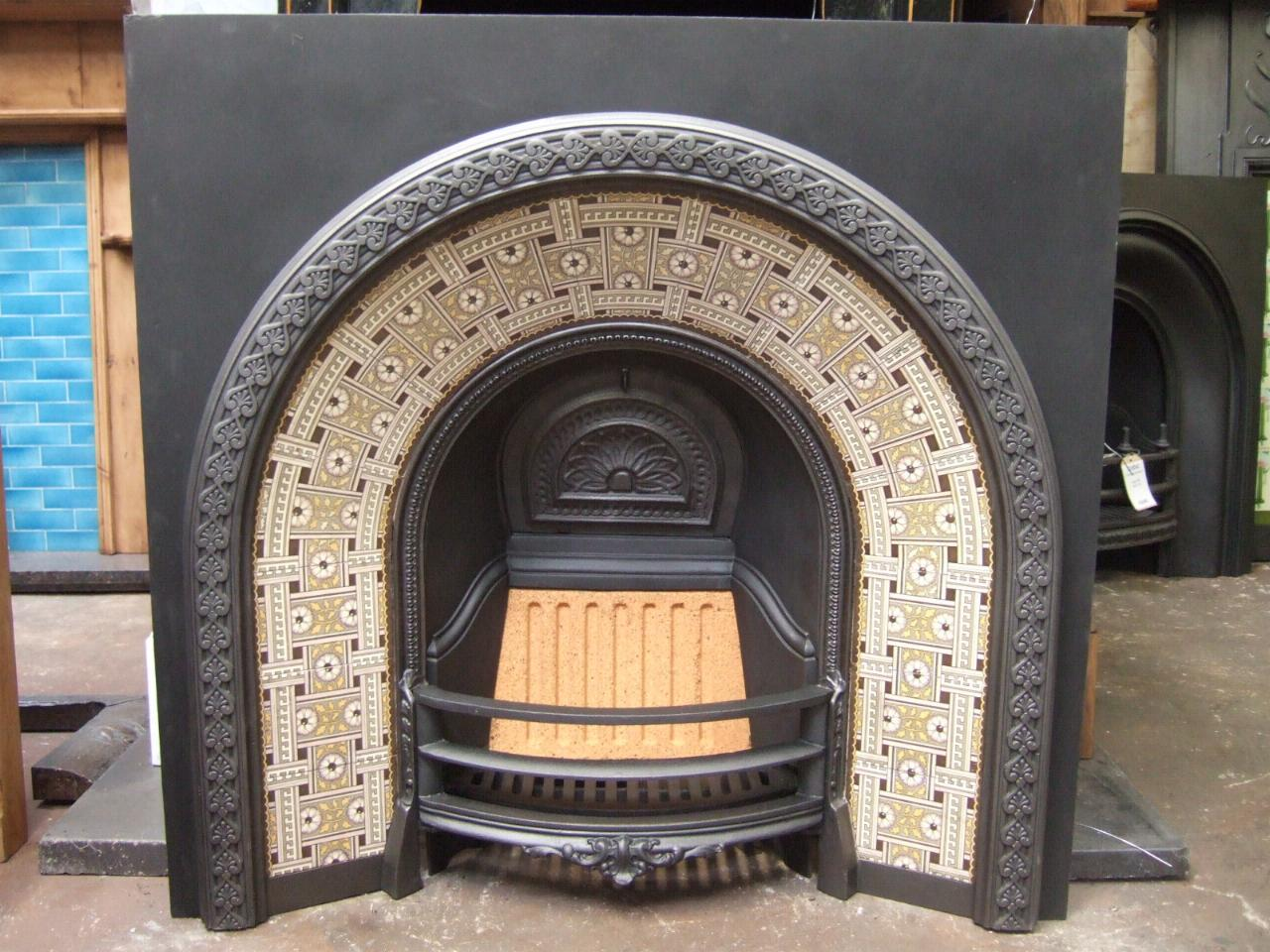 Victorian Arched Tiled Insert 019ti Old Fireplaces