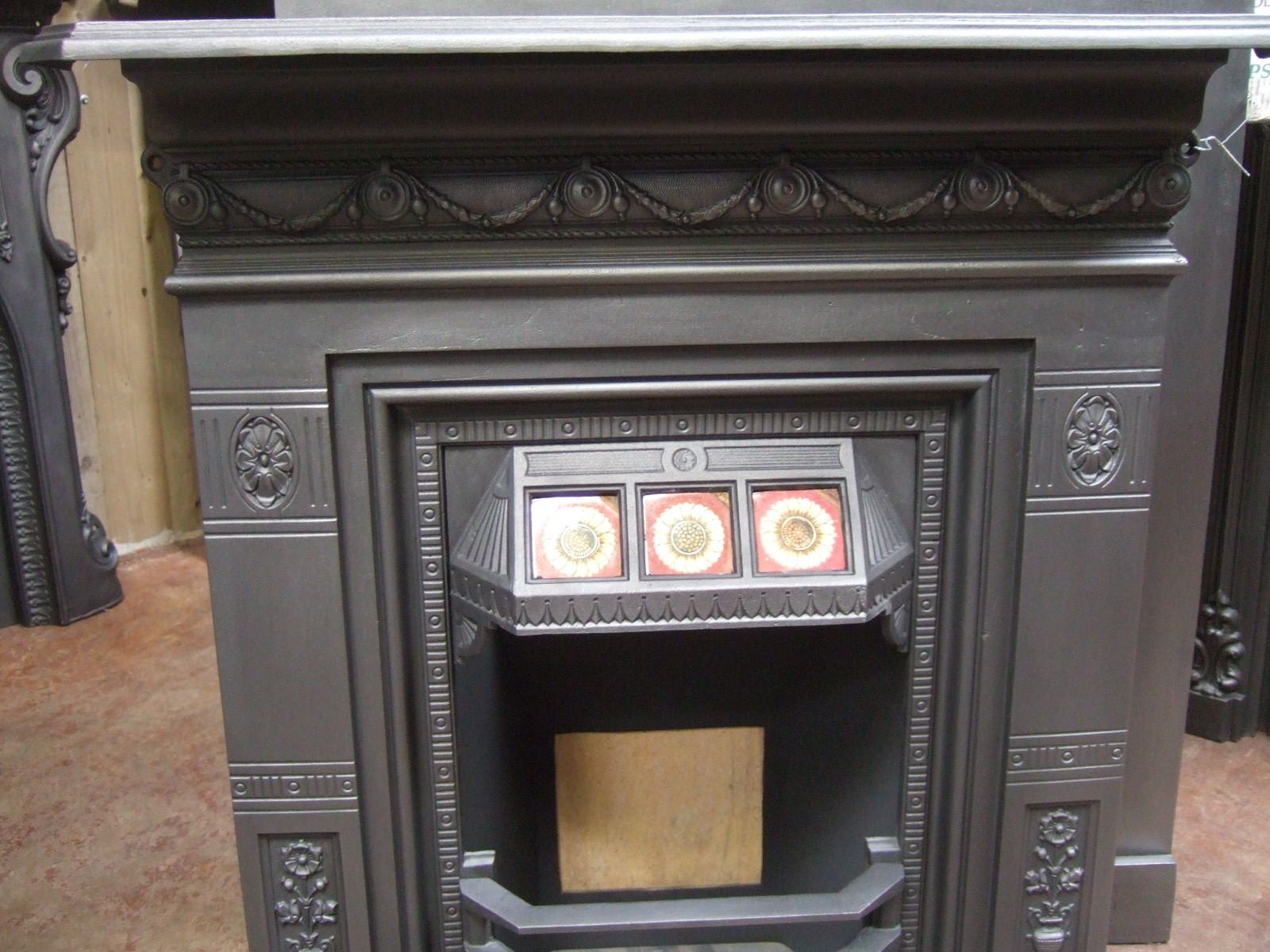 reclaimed victorian tiled combination fireplace 054tc old