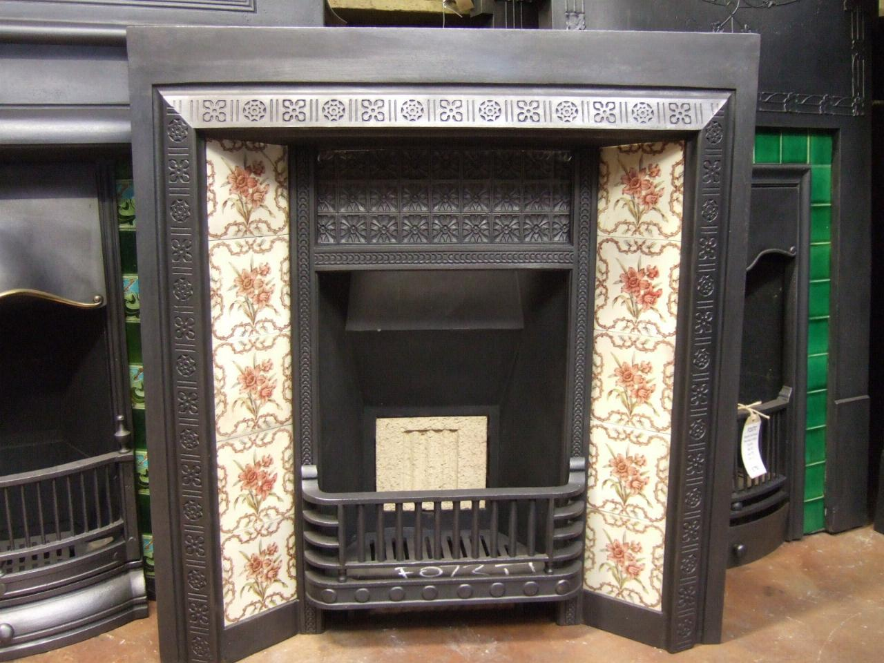Victorian Cast Iron Tiled Insert - Doncaster - 073TI - Old Fireplaces