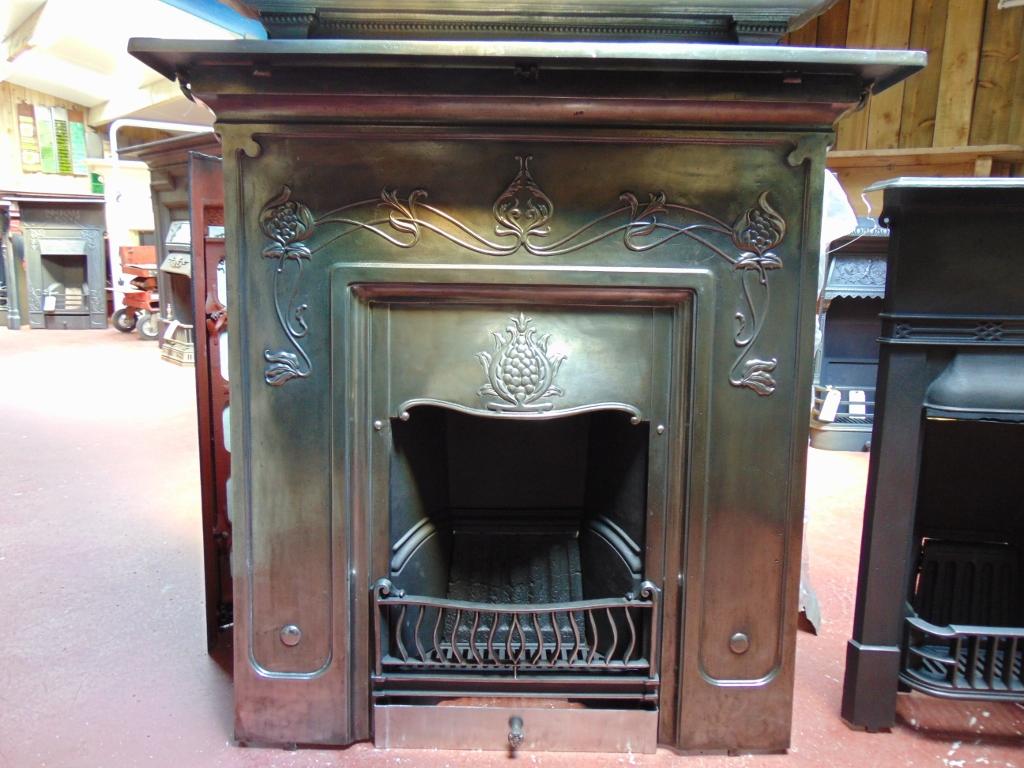075lc 1771 antique art nouveau combination fireplace old