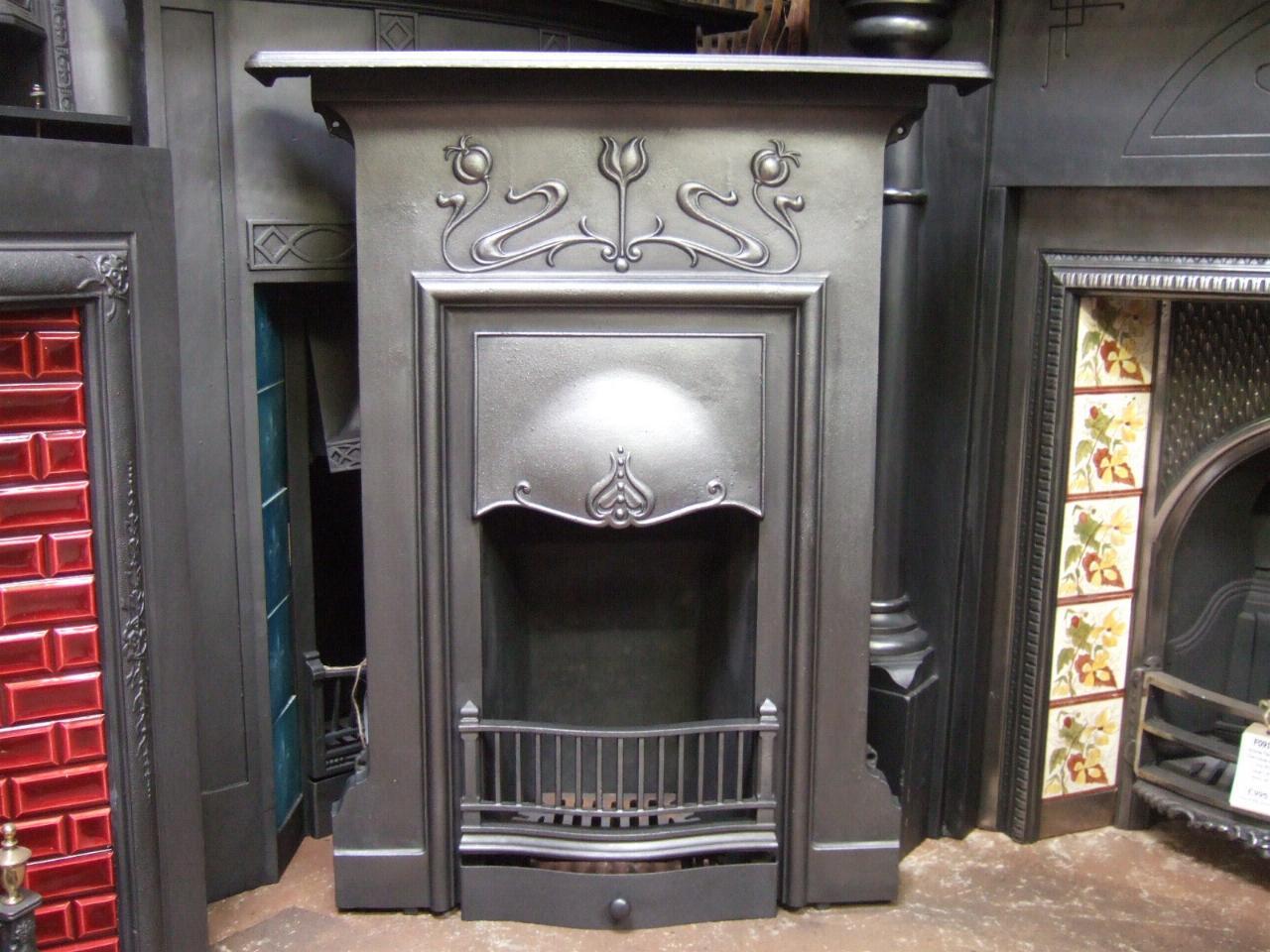 Art Nouveau Cast Iron Fireplace Emsworth 150mc Old
