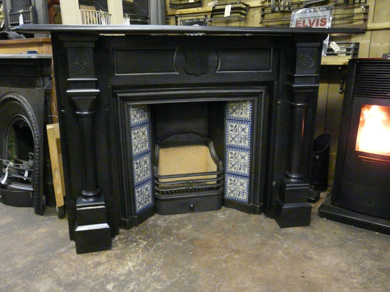 Full Pillared Victorian Slate Fireplace 157ss Old