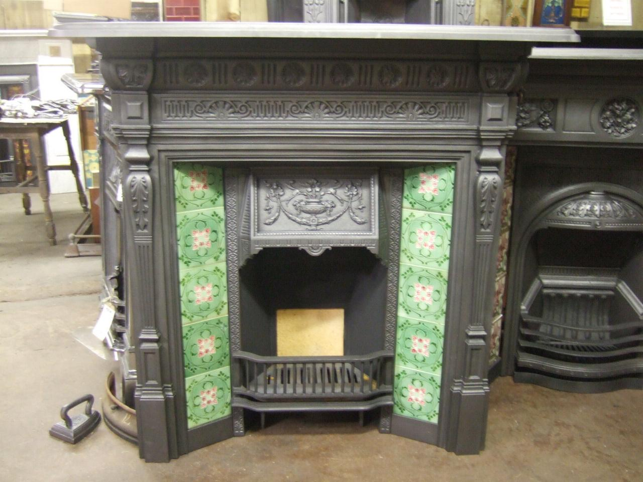 282tc Antique Victorian Tiled Fireplace Old Fireplaces