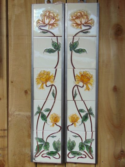 Sweeping Rose Reproduction Fireplace Tiles R006 - Oldfireplaces