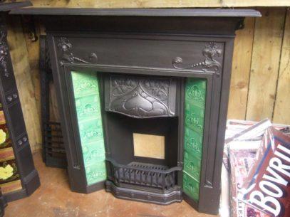 042TC - Antique Art Nouveau Tiled Fireplace
