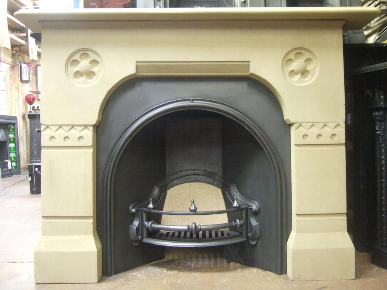 Victorian Gothic Stone Fireplace Surround 045s Old
