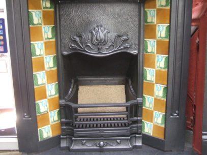 Art Nouveau Tiled Combination Fireplace