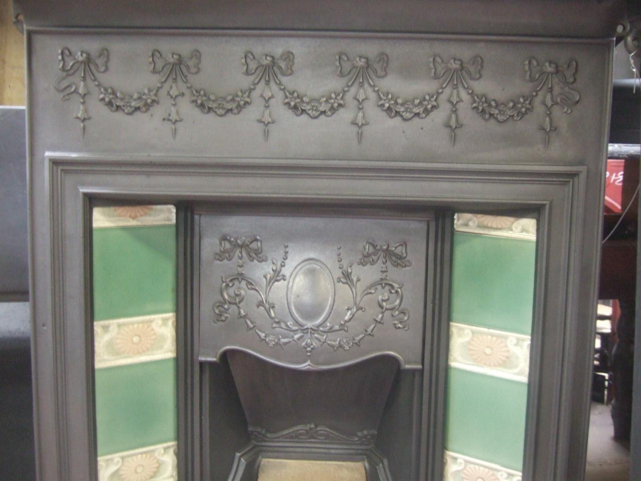 224tc original edwardian tiled combination fireplace old