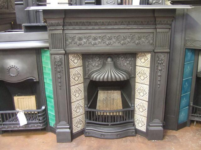 victorian tiled combination fireplace old fireplaces. Black Bedroom Furniture Sets. Home Design Ideas