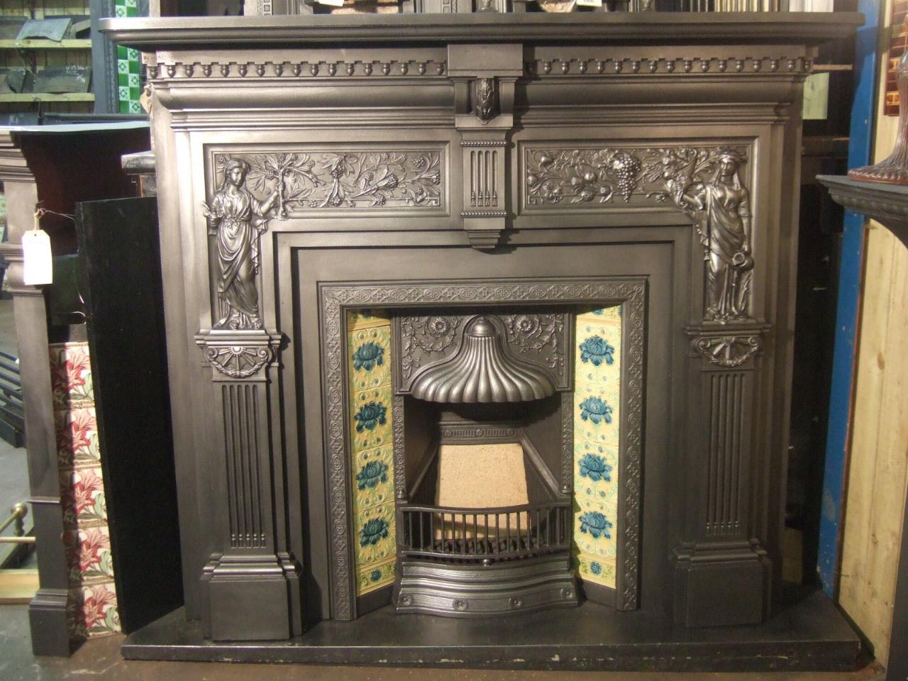 victorian peace and plenty victorian cast iron fireplace surround rh oldfireplaces co uk Antique Cast Iron Fireplace Surround Antique Cast Iron Fireplace Surround