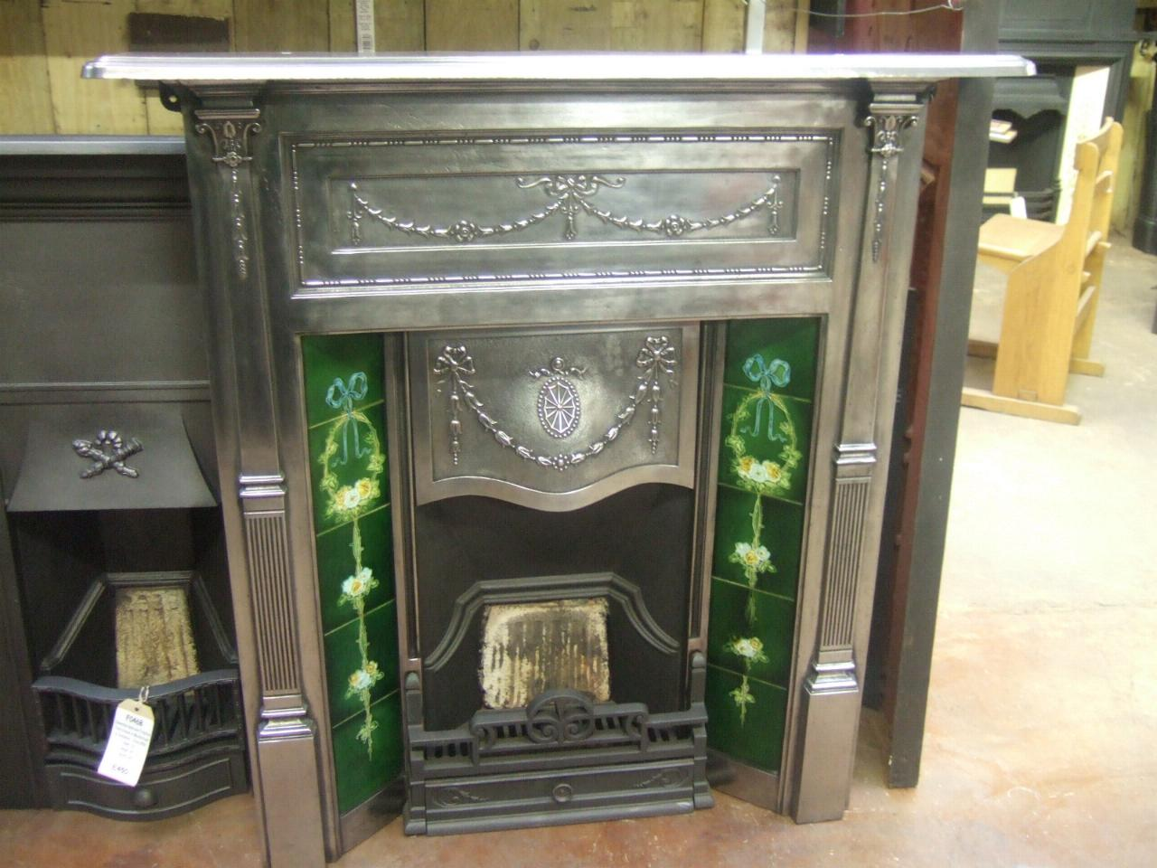 132TC - Fully-Polished Cast Iron Edwardian Tiled Fireplace - Fully-Polished Cast Iron Edwardian Tiled Fireplace - 132TC - Old