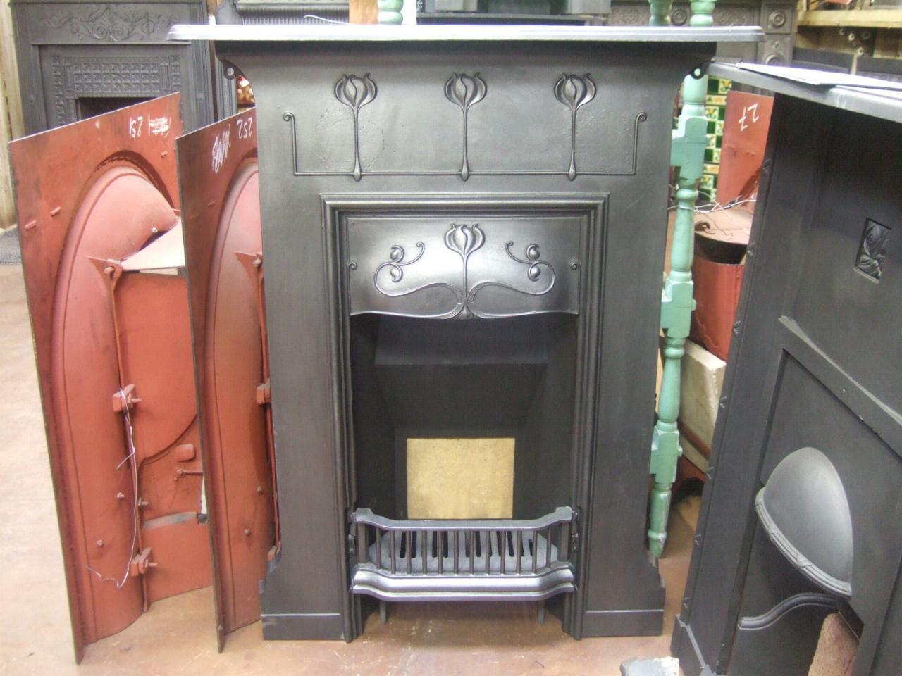 Art Nouveau Cast Iron Fireplace 133mc Antique Fireplace Co