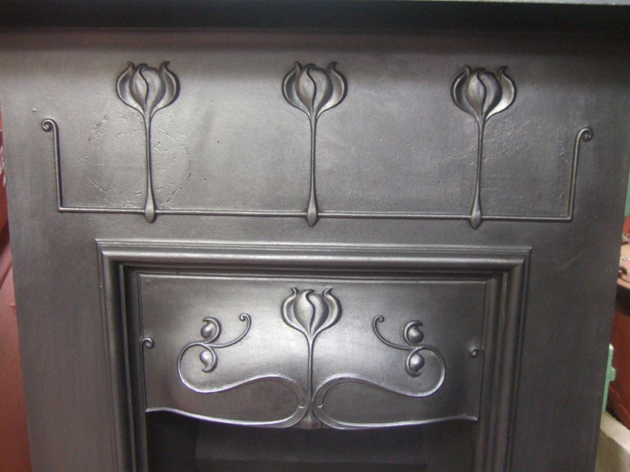 Art Nouveau Cast Iron Fireplace 133mc Old Fireplaces