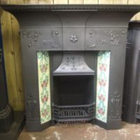 134TC - Art Nouveau Cast Iron Tiled Combination Fireplace