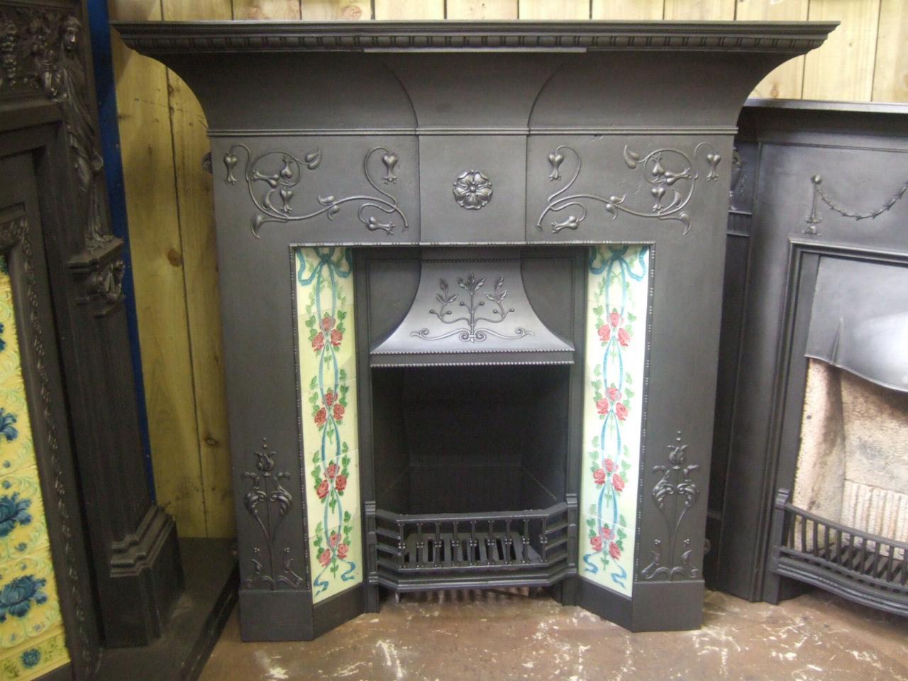 art nouveau cast iron tiled combination fireplace 134tc old