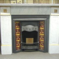 Antique Victorian Carrara & Sienna Marble Fireplace Surround