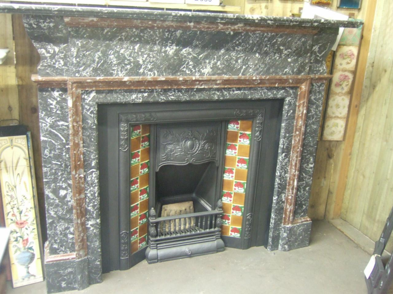184MS - Early Antique Victorian St Ann's Marble Fireplace Surround | Old Fireplaces