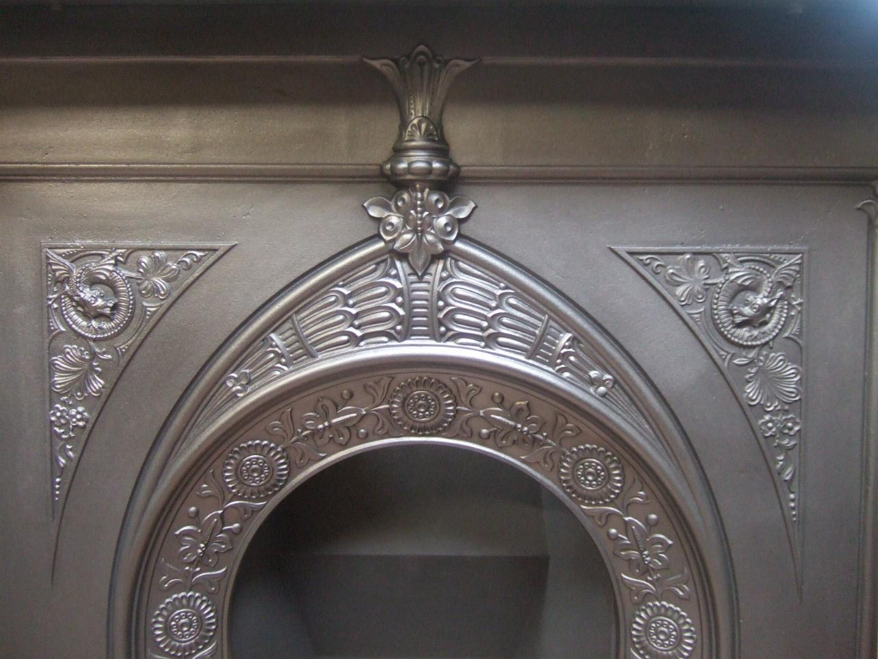 Victorian / Arts & Crafts Cast Iron Fireplace -185LC - Old ...
