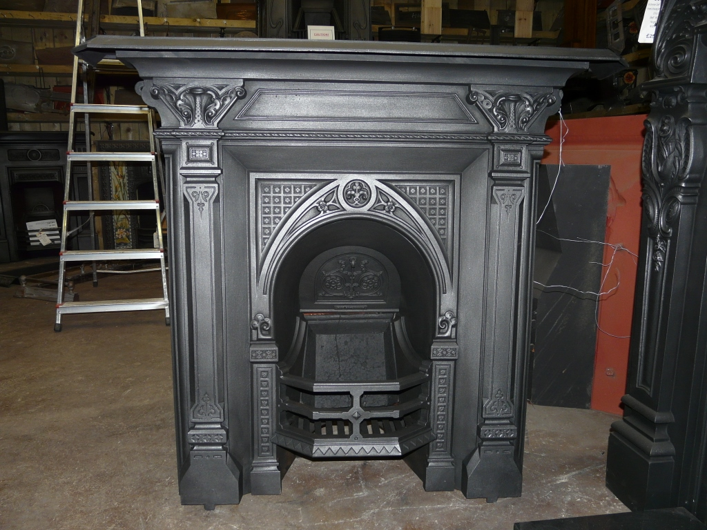 Gothic Victorian Cast Iron Fireplace 110lc 1094 Old