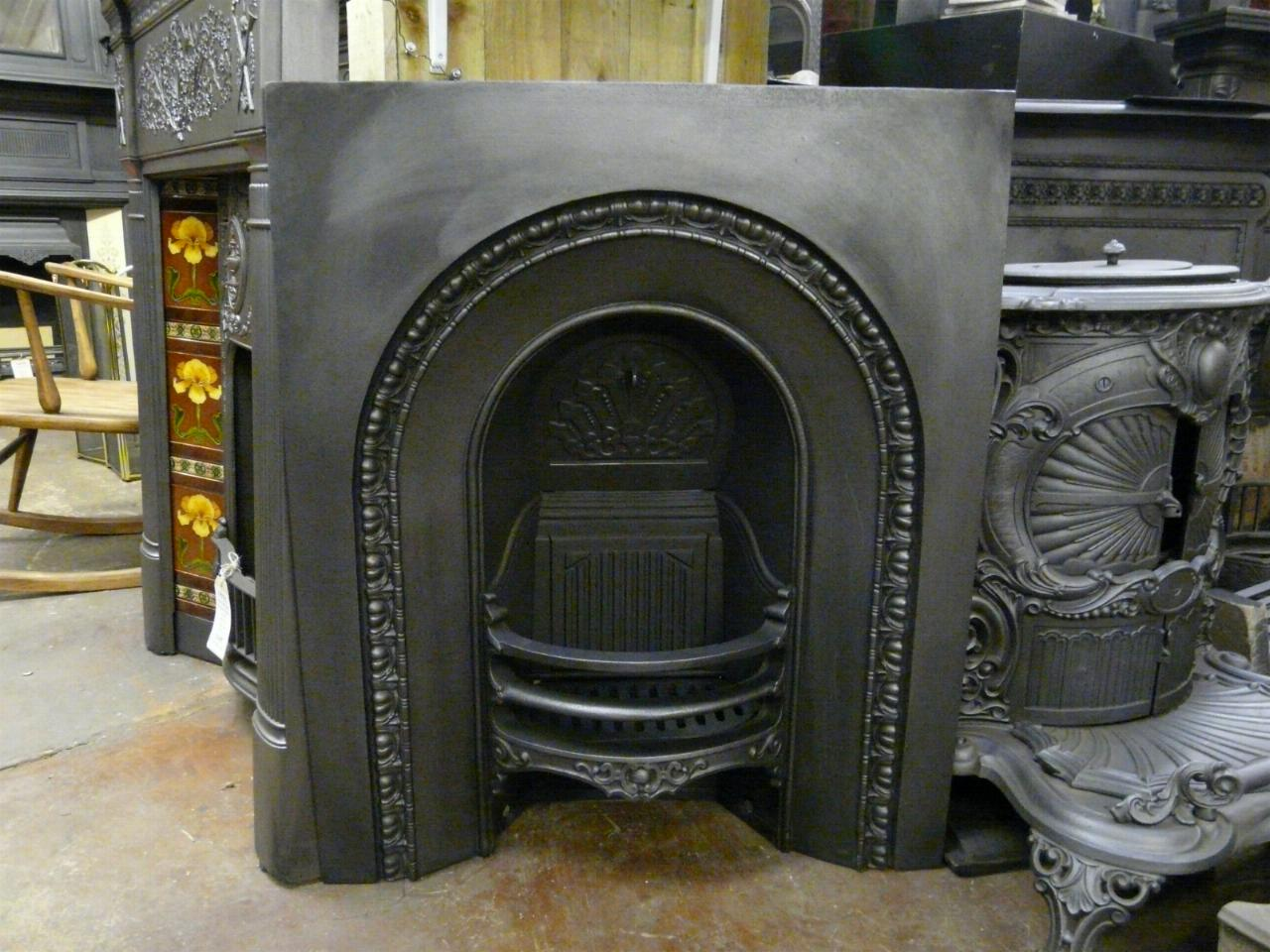 Victorian Cast Iron Arched Insert 045ai Old Fireplaces