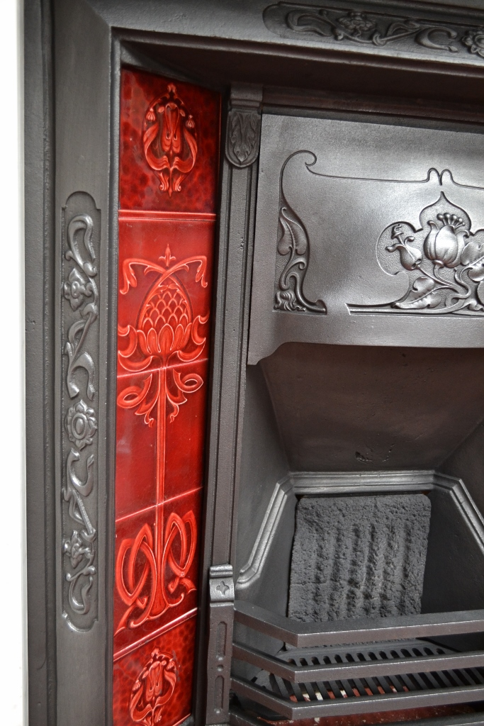 33 Mile Radius >> Original Art Nouveau Tiled Insert - 864TI - Old Fireplaces