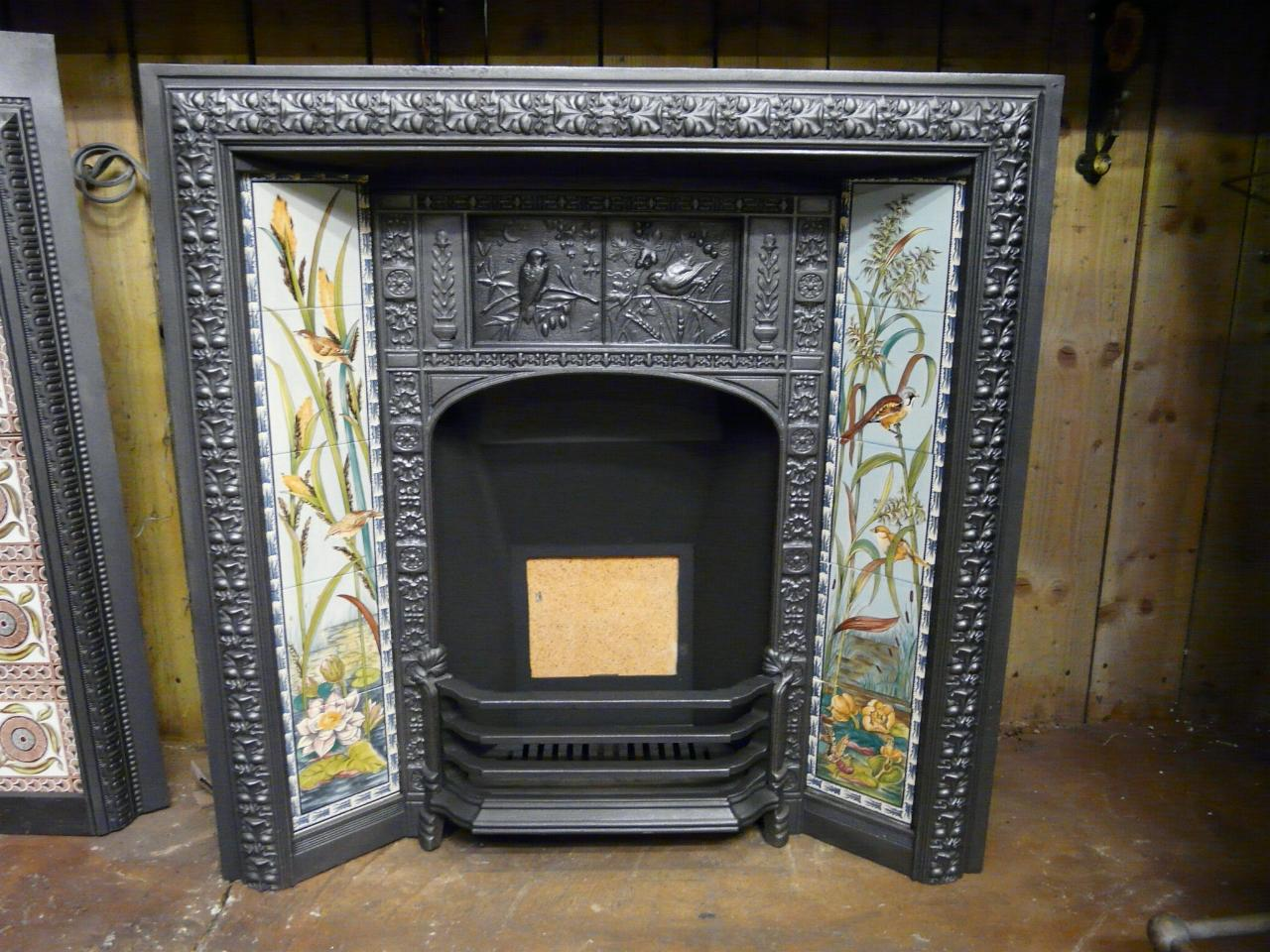 Victorian Arts Crafts Tiled Fireplace Insert 156ti Old Fireplaces