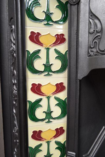 Original Art Nouveau Tiled Insert 864TI Antique Fireplace Company