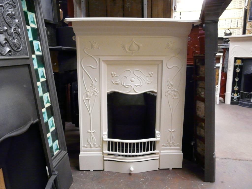 Reclaimed Art Nouveau Cast Iron Fireplace 201MC Old