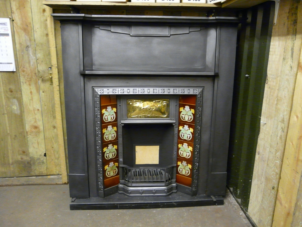 087cs 1060 Art Deco Cast Iron Fireplace Surround Old