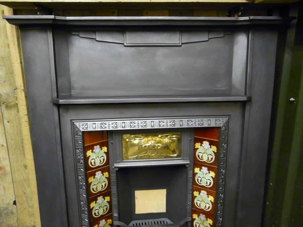 087cs 1060 Art Deco Cast Iron Fireplace Surround Old