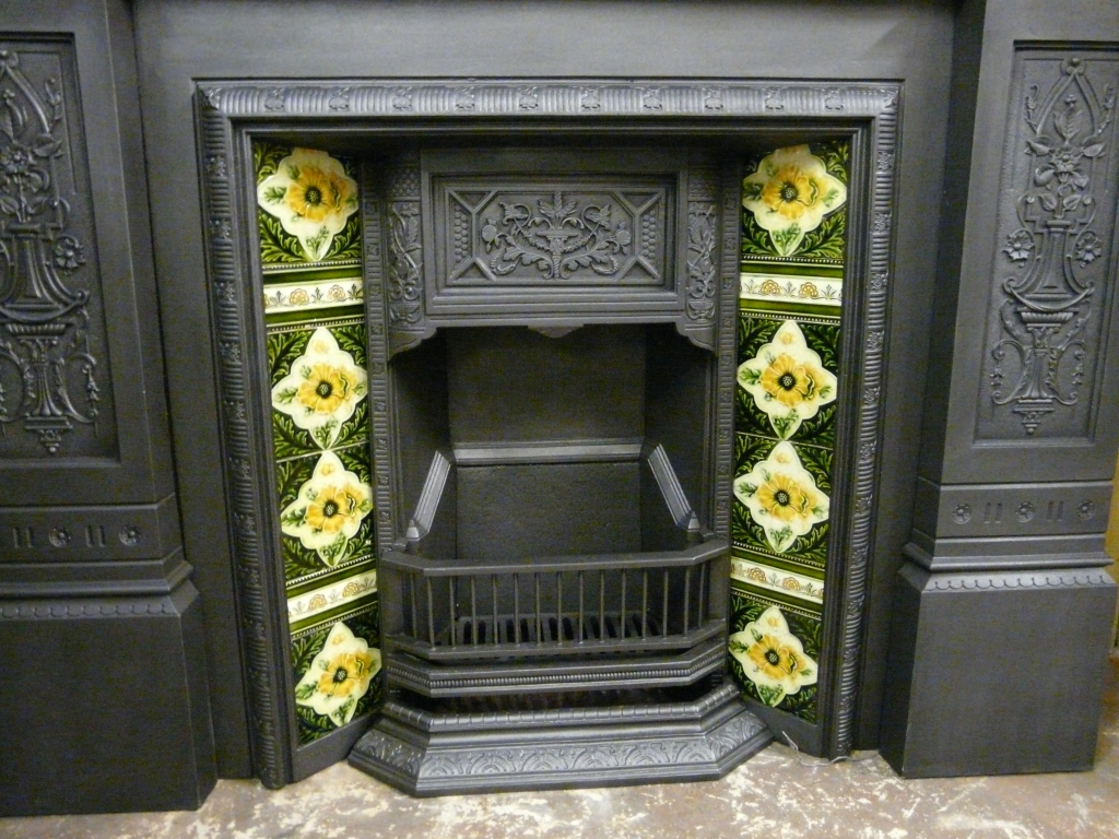 Antique Victorian Tiled Insert 052ti 1091 Old Fireplaces