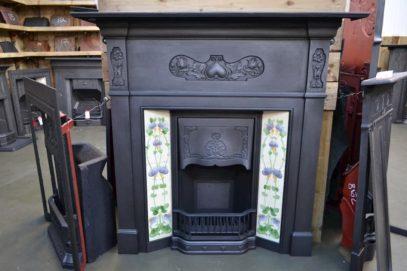 Reclaimed Art Nouveau Tiled Fireplace 1104TC - Oldfireplaces