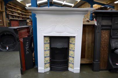 Painted Art Nouveau Tiled Fireplace 1146TC - Antique Fireplace Co