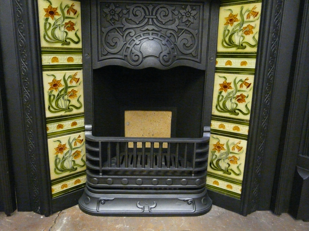 Antique Victorian Tiled Insert 221TI-1150 - Old Fireplaces