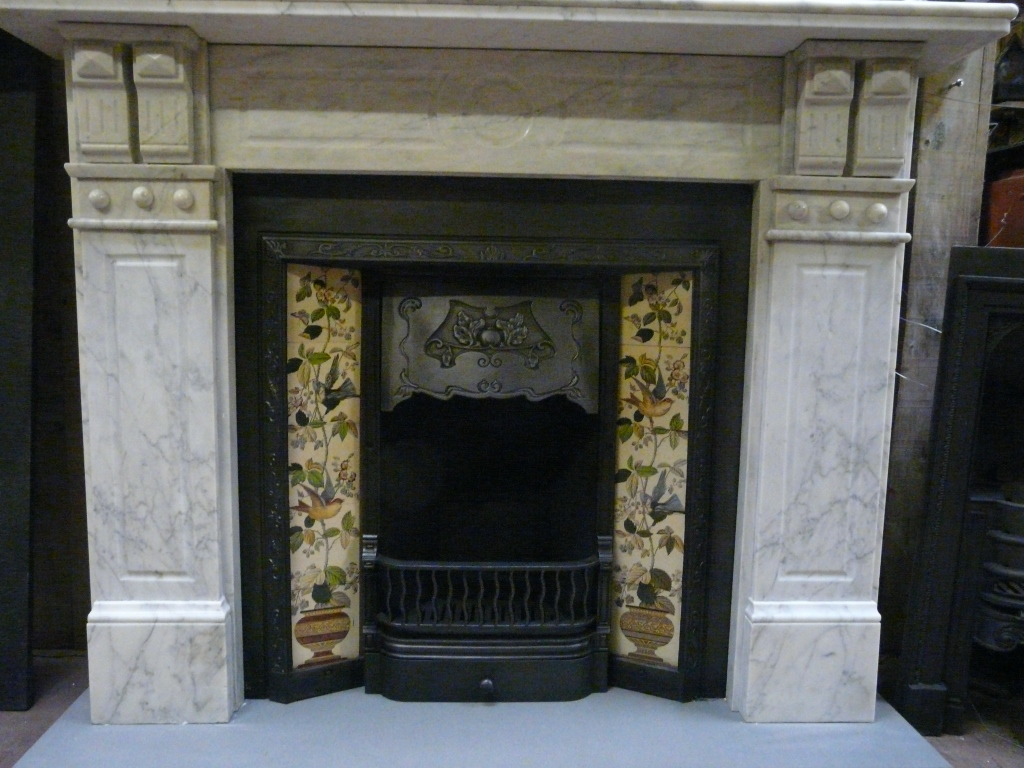 Victorian Edwardian Carrara Marble Fire Surround 006MS