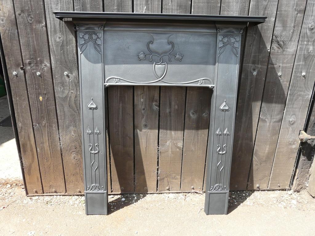 Original Art Nouveau Fire Surround 274cs 1238 Antique