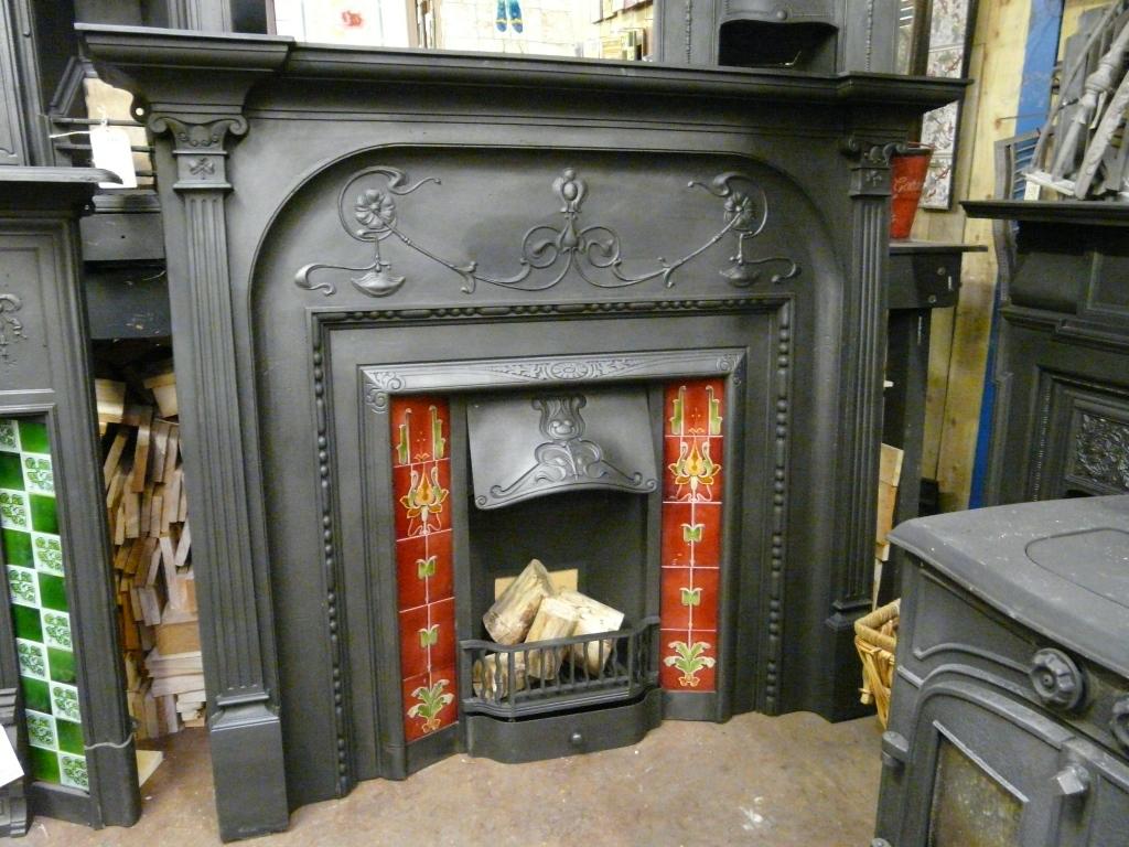 Antique Art Nouveau Fire Surround - 061CS-956 - Old Fireplaces