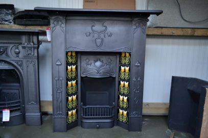 Art Nouveau Tiled Combination Fireplace - 1292TC - Antique Fireplace Co