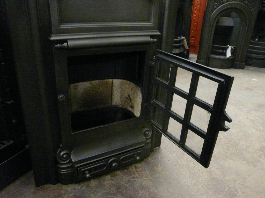 1930's Cast Iron Stove Fireplace=259S-1306 - Old Fireplaces