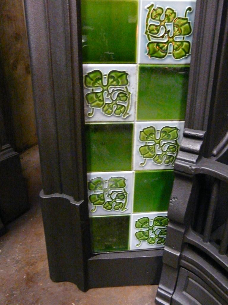 Original Art Nouveau Fireplace Tiles An035 Antique