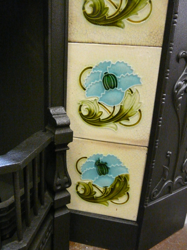 Victorian Art Nouveau Fireplace Tiles - AN048 - Old Fireplaces