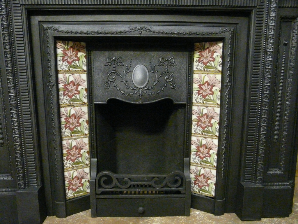 Antique Edwardian Tiled Fireplace Insert 082ti 1404