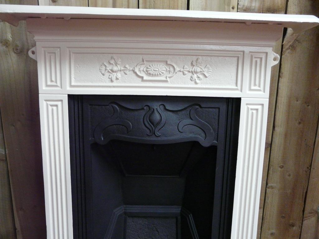 Victorian Bedroom Fireplace Fret : Victorian black cream painted bedroom fireplace b