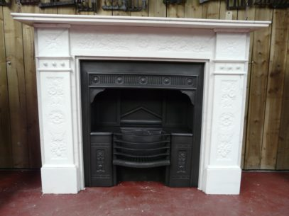 Victorian Carrara Carved Marble Surround 1275MS with Victorian Hobgrate 1556H