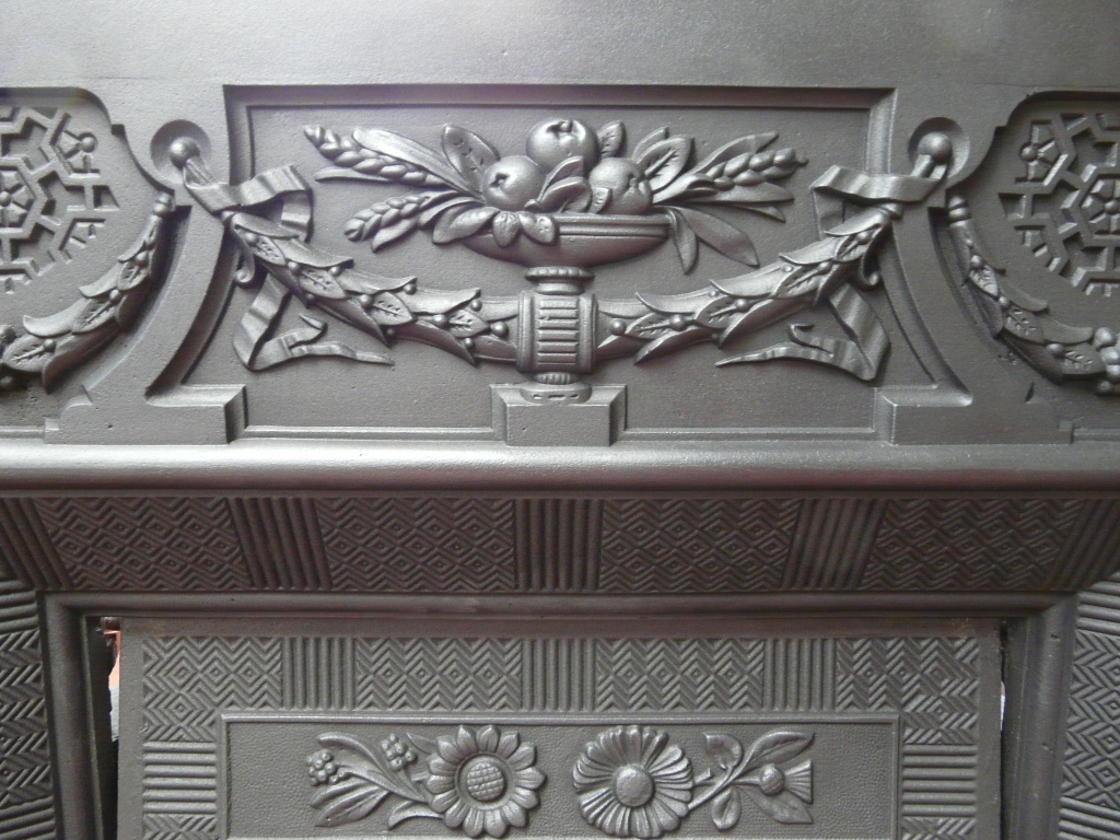 296I 1594 Victorian Cast Iron Insert Old Fireplaces