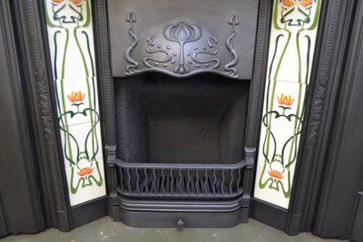 Original Art Nouveau Tiled Insert 1895TI - Oldfireplaces